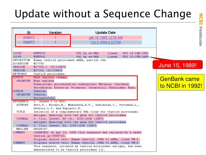 Update without a Sequence Change