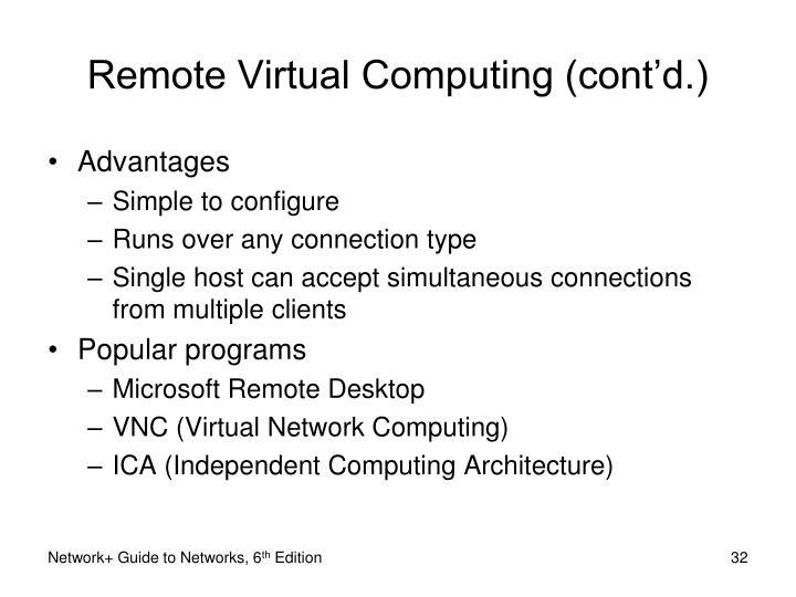 Remote Virtual Computing (cont'd.)