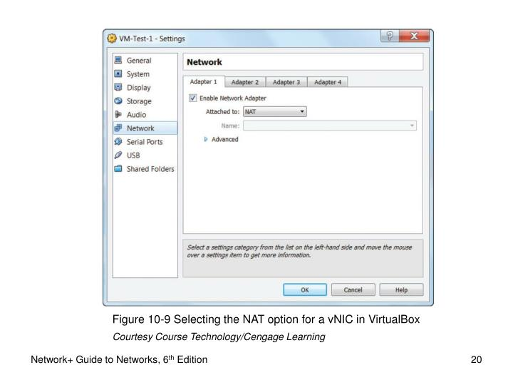 Figure 10-9 Selecting the NAT option for a vNIC in VirtualBox