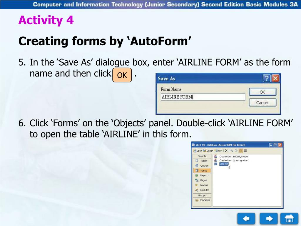 PPT - Activity 4 Creating forms by 'AutoForm' PowerPoint