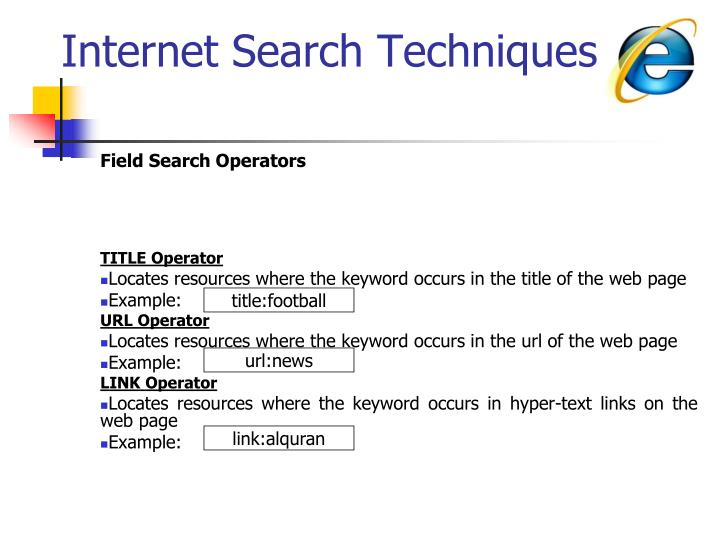 Internet Search Techniques