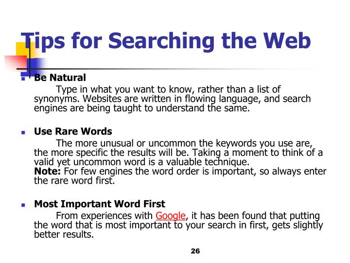 Tips for Searching the Web