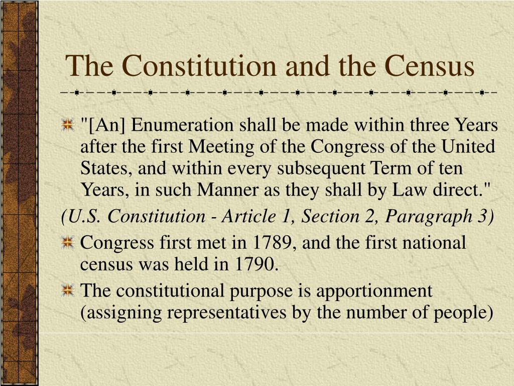 PPT - The Constitution and the Census PowerPoint Presentation, free  download - ID:5712218
