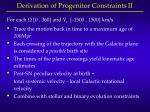 derivation of progenitor constraints ii