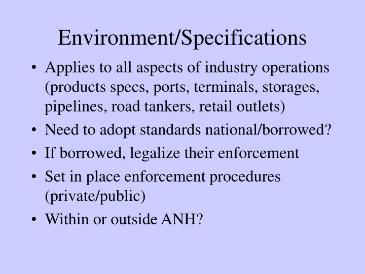 Environment/Specifications