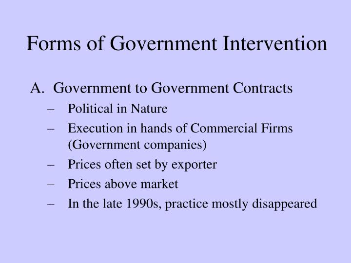 Forms of Government Intervention