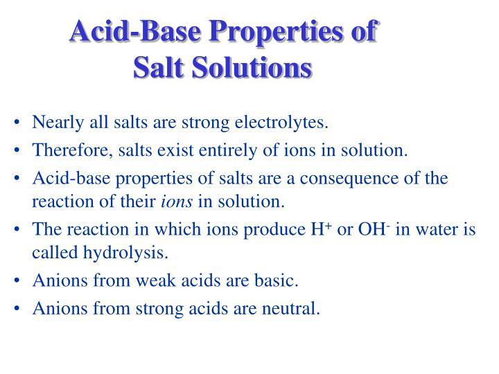 Acid-Base Properties of Salt Solutions