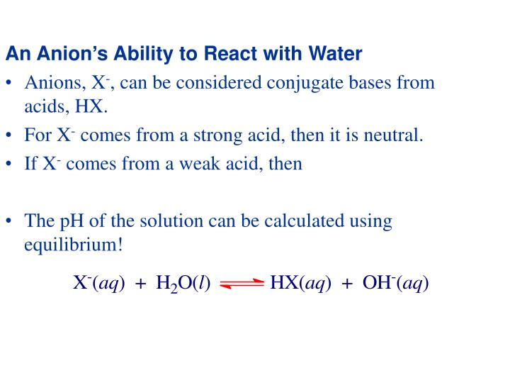 An Anion's Ability to React with Water