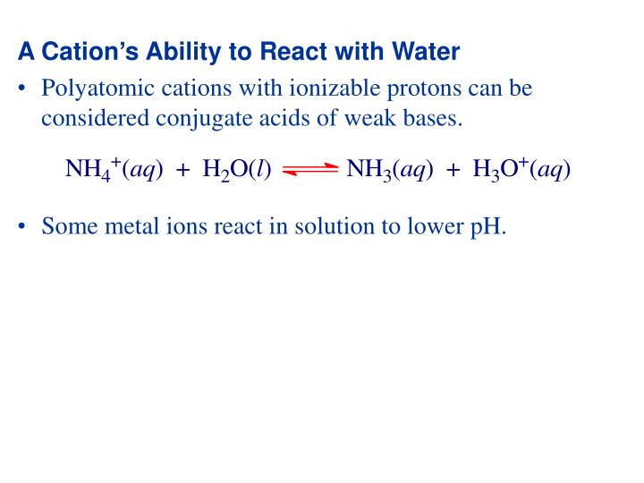 A Cation's Ability to React with Water