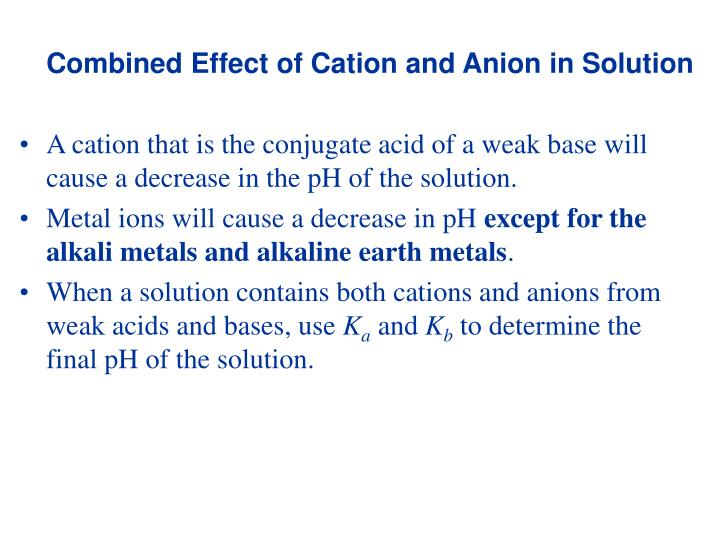 Combined Effect of Cation and Anion in Solution