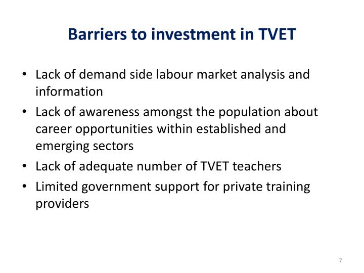 Barriers to investment in TVET