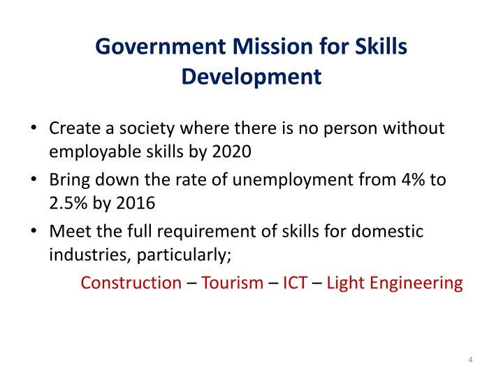 Government Mission for Skills Development