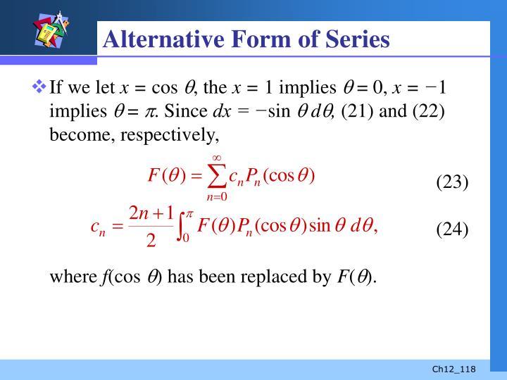 Alternative Form of Series