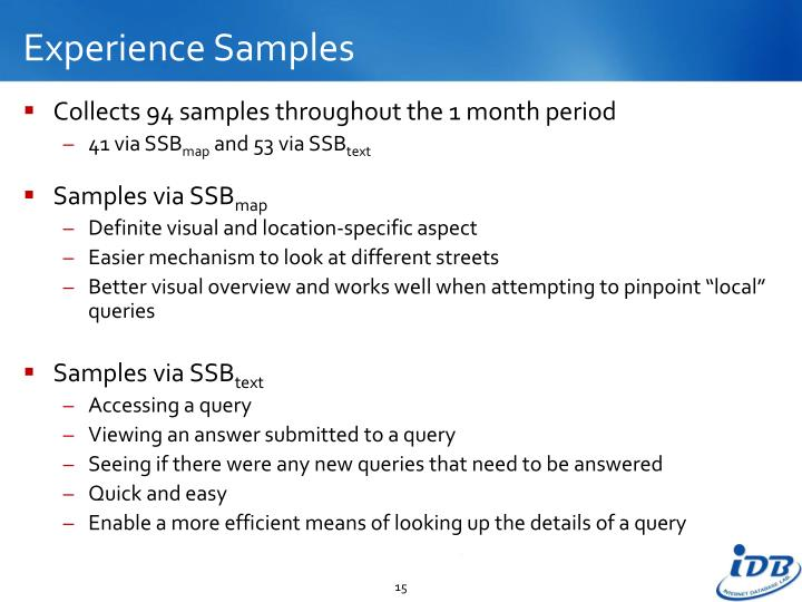 Experience Samples