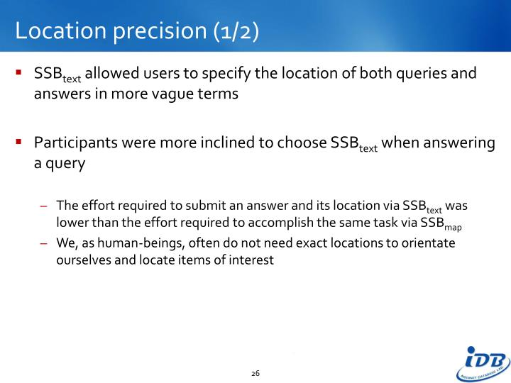 Location precision (1/2)
