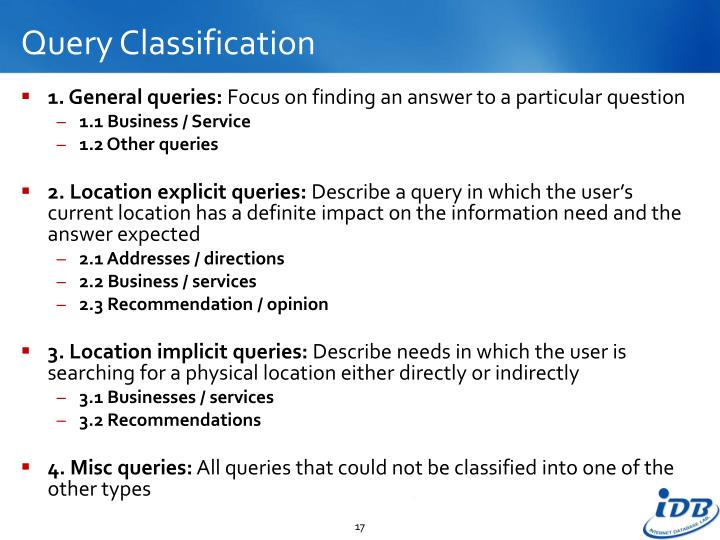 Query Classification