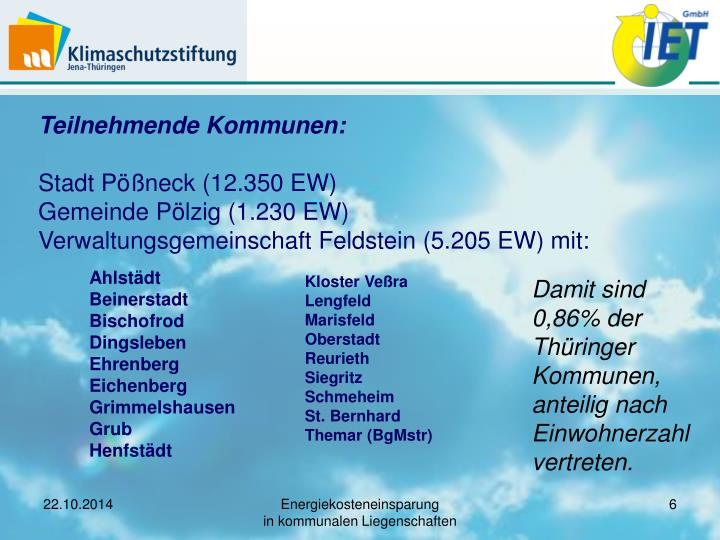 Teilnehmende Kommunen: