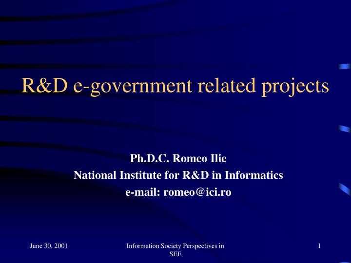 R d e government related projects