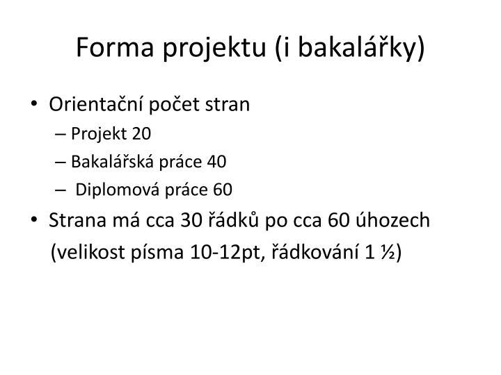 Forma projektu (i bakalářky)