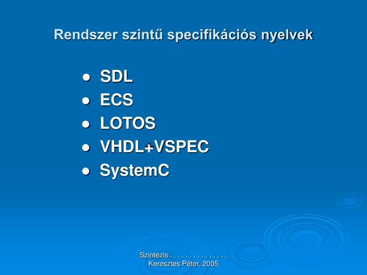 Rendszer szintű specifikációs nyelvek
