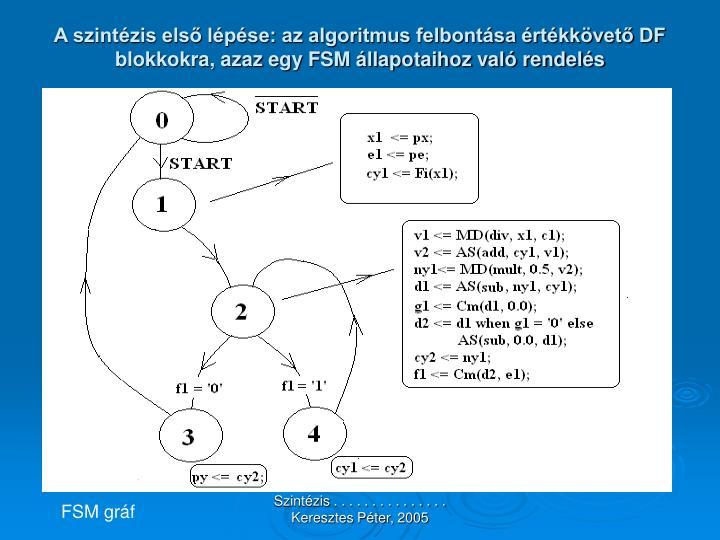 A szintézis első lépése: az algoritmus felbontása értékkövető DF blokkokra, azaz egy FSM állapotaihoz való rendelés