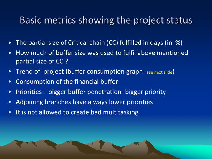 Basic metrics showing the project status