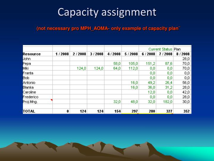 Capacity assignment