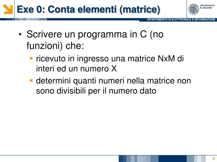 Exe 0: Conta elementi (matrice)
