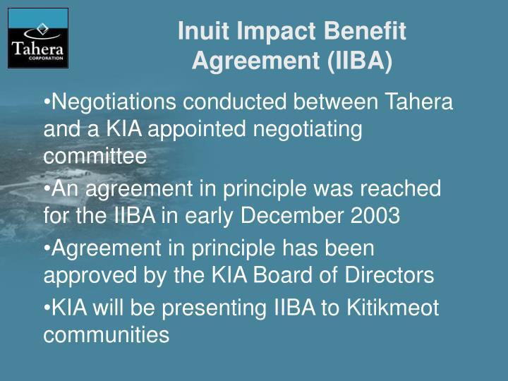 Inuit Impact Benefit Agreement (IIBA)