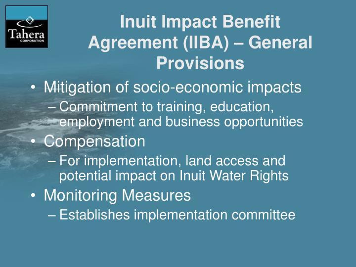 Inuit Impact Benefit Agreement (IIBA) – General Provisions