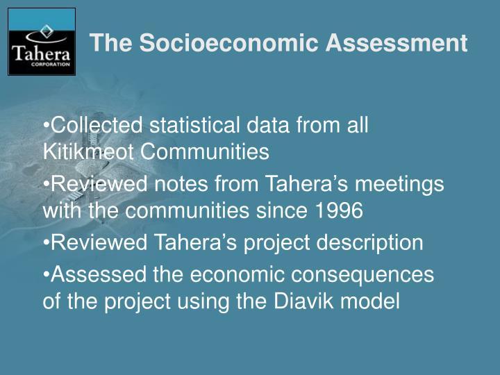 The Socioeconomic Assessment