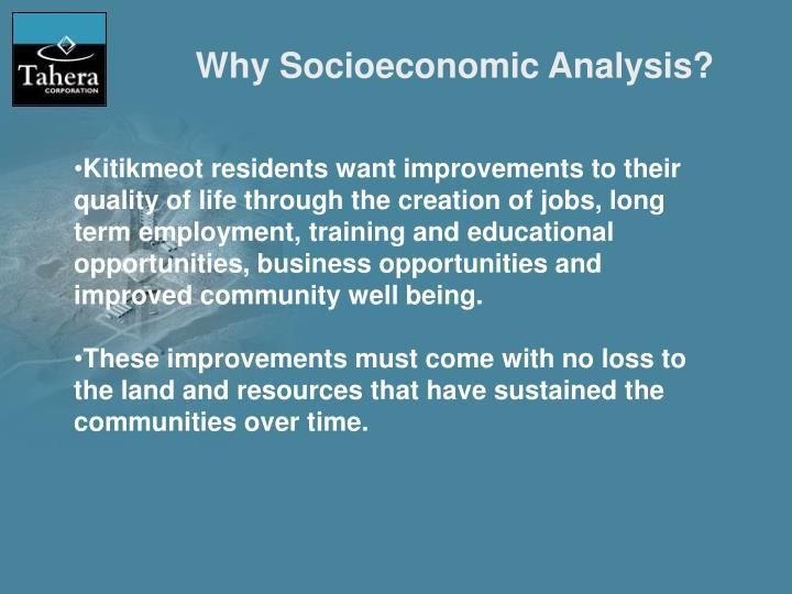 Why Socioeconomic Analysis?