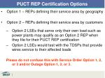 puct rep certification options