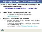 signing up for flight 1014 current lses1