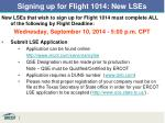 signing up for flight 1014 new lses