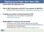 signing up for flight 1014 new lses1