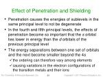 effect of penetration and shielding