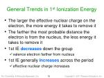 general trends in 1 st ionization energy
