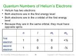 quantum numbers of helium s electrons