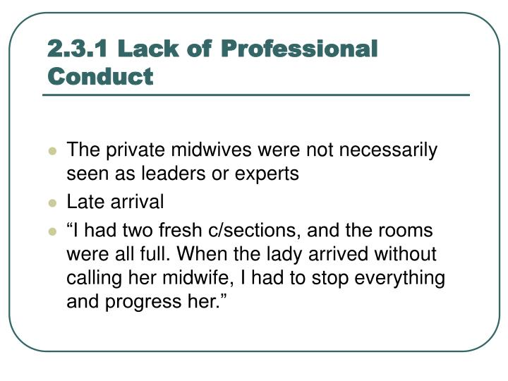 2.3.1 Lack of Professional Conduct