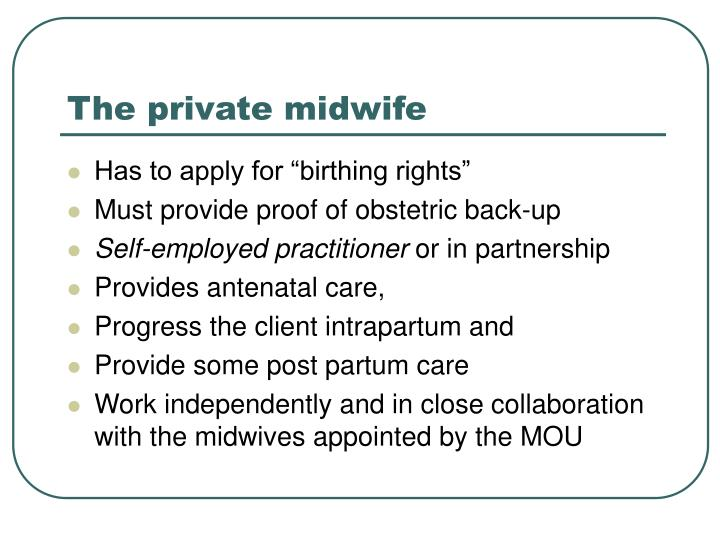 The private midwife