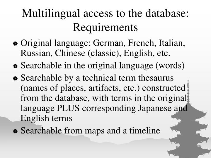 Multilingual access to the database: