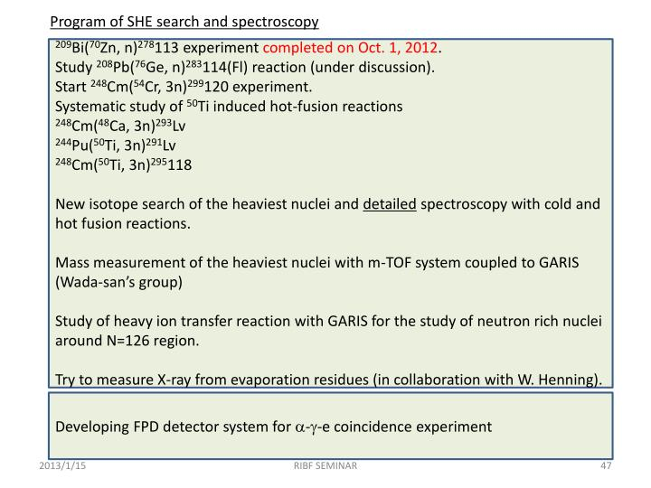 Program of SHE search and spectroscopy