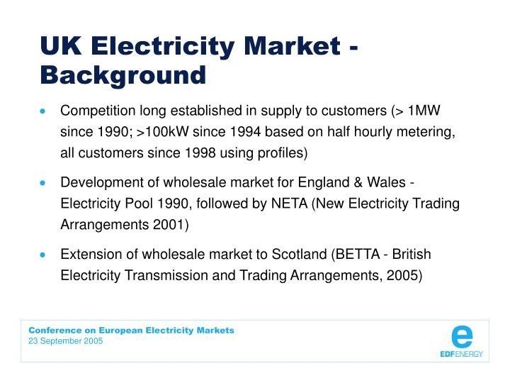 Uk electricity market background