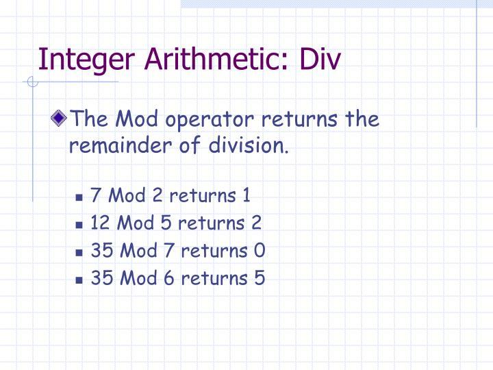 Integer Arithmetic: Div