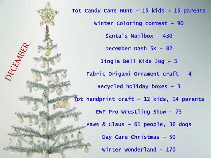 Tot Candy Cane Hunt – 15 kids + 15 parents