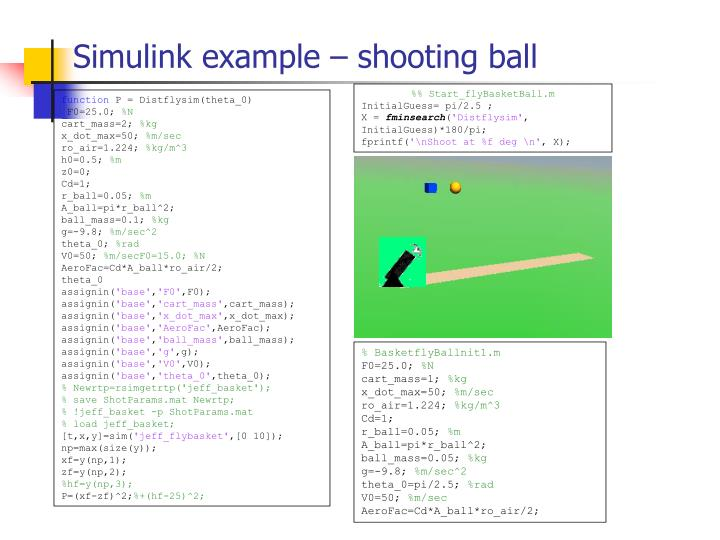 Simulink example – shooting ball