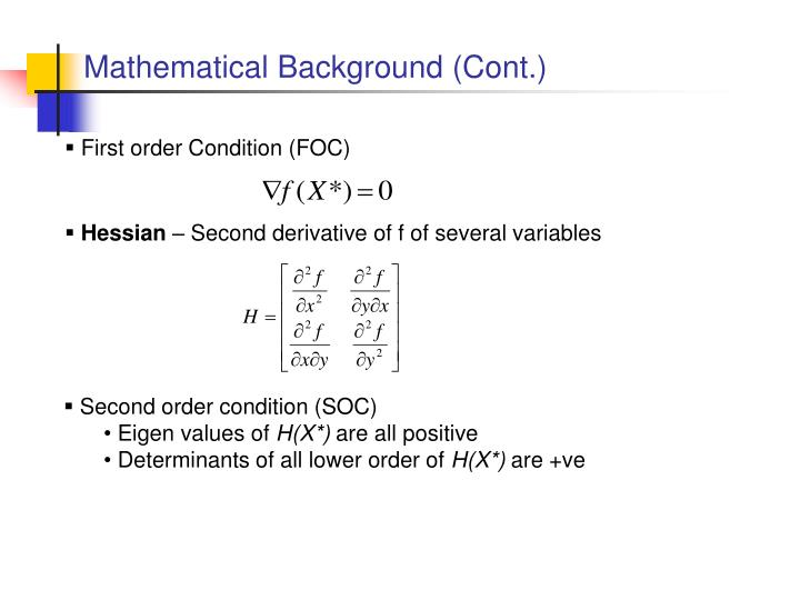 Mathematical Background (Cont.)