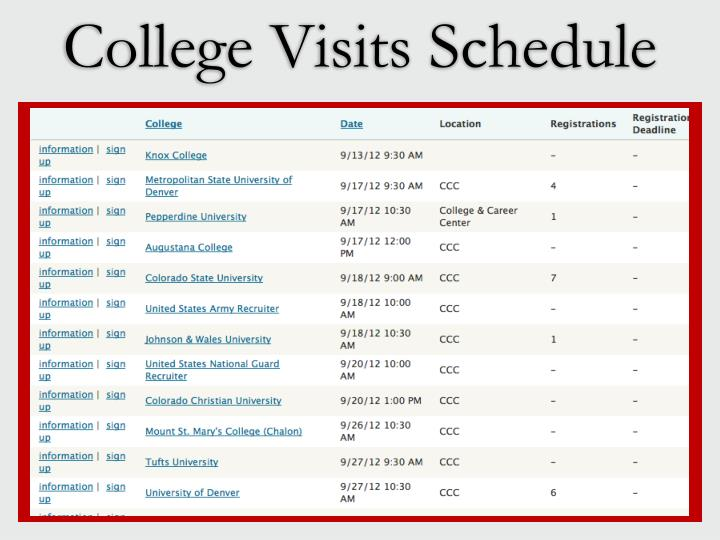 College Visits Schedule