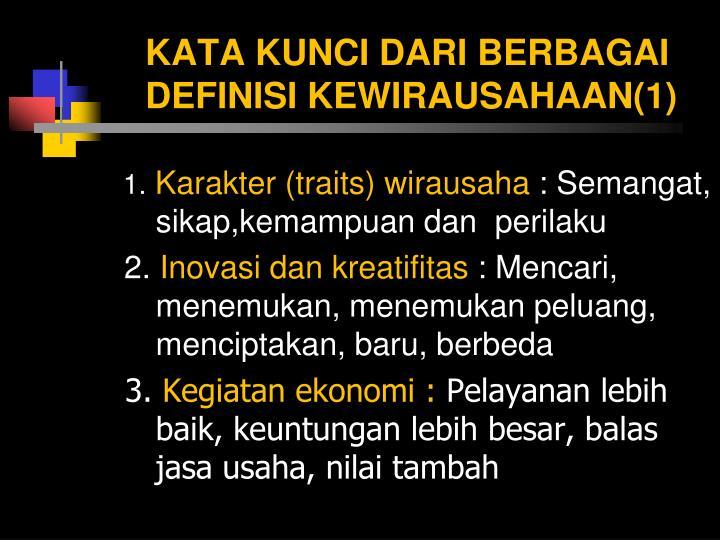 KATA KUNCI DARI BERBAGAI DEFINISI KEWIRAUSAHAAN(1)